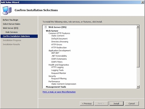 역할 추가 마법사 (Add Roles Wizard) : Confirm Installation Selections