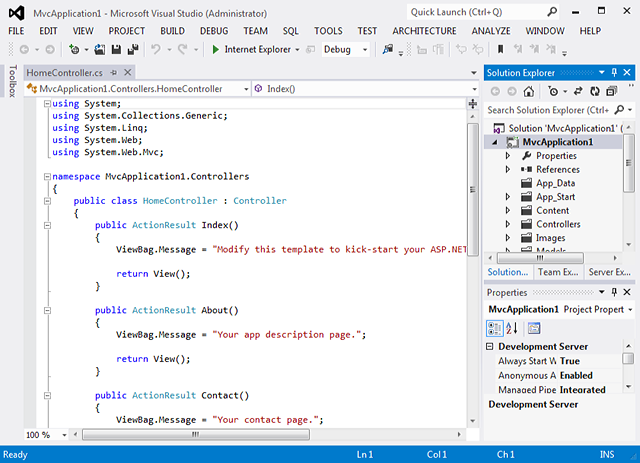 New ASP.NET MVC Application in Source View