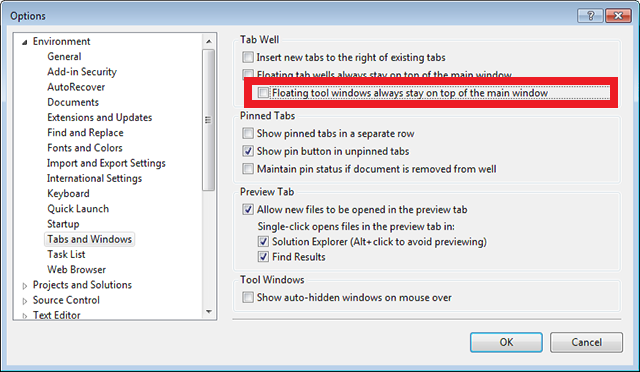 Clear this checkbox to ALT+TAB between Visual Studio and the undocked Page Inspector window