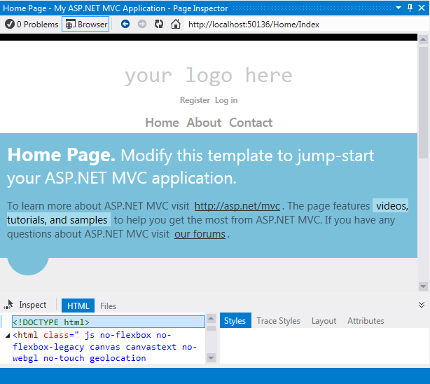 ASP.NET MVC Application in Page Inspector