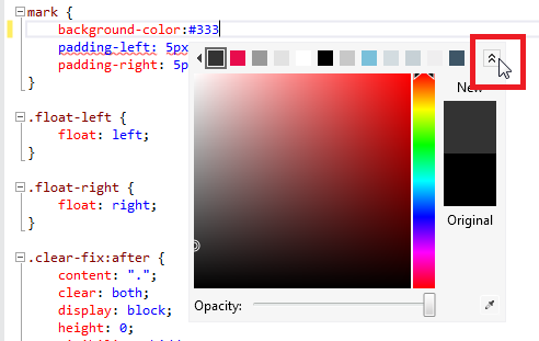 CSS Color Picker Pop-Down