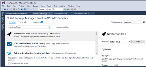 Browse to NuGet Package